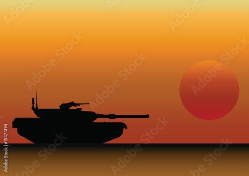 Deurstickers Militair Military Tank Silhouetted Against Dawn or Dusk Sky
