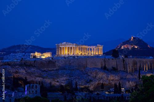 Poster Athens Night view of Acropolis, Athens, Greece