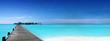 canvas print picture - Steg zu tropischer Insel