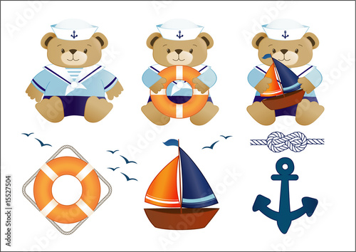 Fotomural little sailor teddy bears