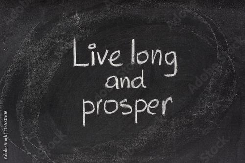 Photo  live long and prosper salute on blackboard