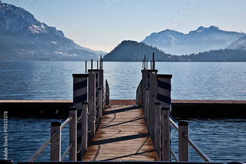 Fotografie, Obraz Bridge on lake of Como