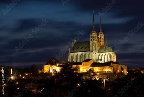 Fotografía  Cathedral Petrov at night – Brno Czech Republic
