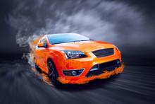 Beautiful Orange Sport Car In ...