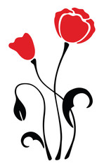Naklejkapoppy vector flower illustration