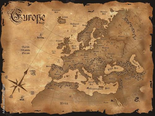 Vintage Europe map  horizontal Canvas Print