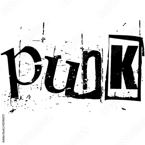 Photo the word punk written in grunge cutout style