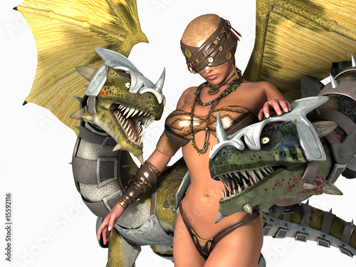 Foto op Aluminium Draken druid woman with two dragons