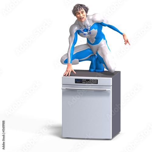 Fotografie, Obraz  superhero on a disher