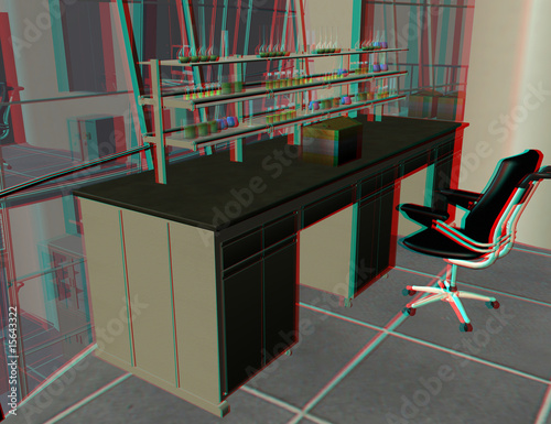 Photo anaglyph image of a modern lab. use a red-blue google to see 3d