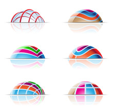 Vector Illustration Of Colourful Domes And Reflections