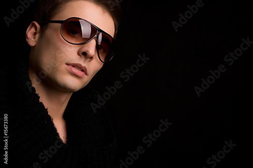 Spoed Foto op Canvas womenART Young boy with sunglasses portrait