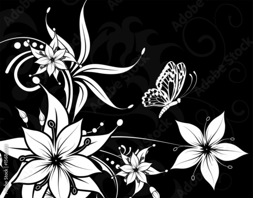 Staande foto Bloemen zwart wit Flower background