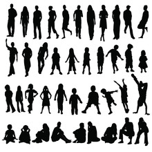 Lots Of Men Women And Children Silhouettes