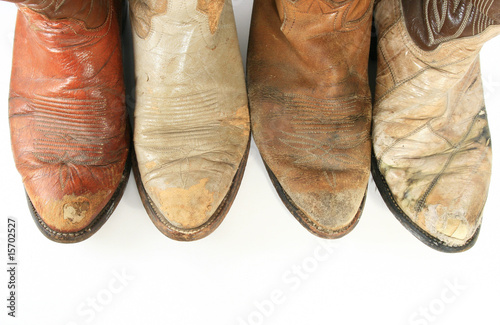 Valokuva  Old worn cowboy boot toes