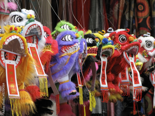 Chinese dragons hanging in market