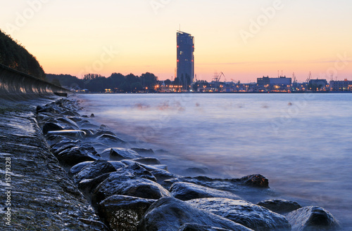 Stony sea coastline and quay in Gdynia, Poland #15719328