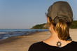 canvas print picture - Gilr with tribal tattoo on the beach