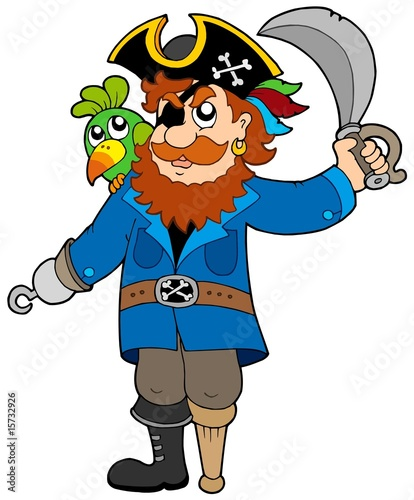 Foto op Canvas Piraten Pirate with parrot and sabre