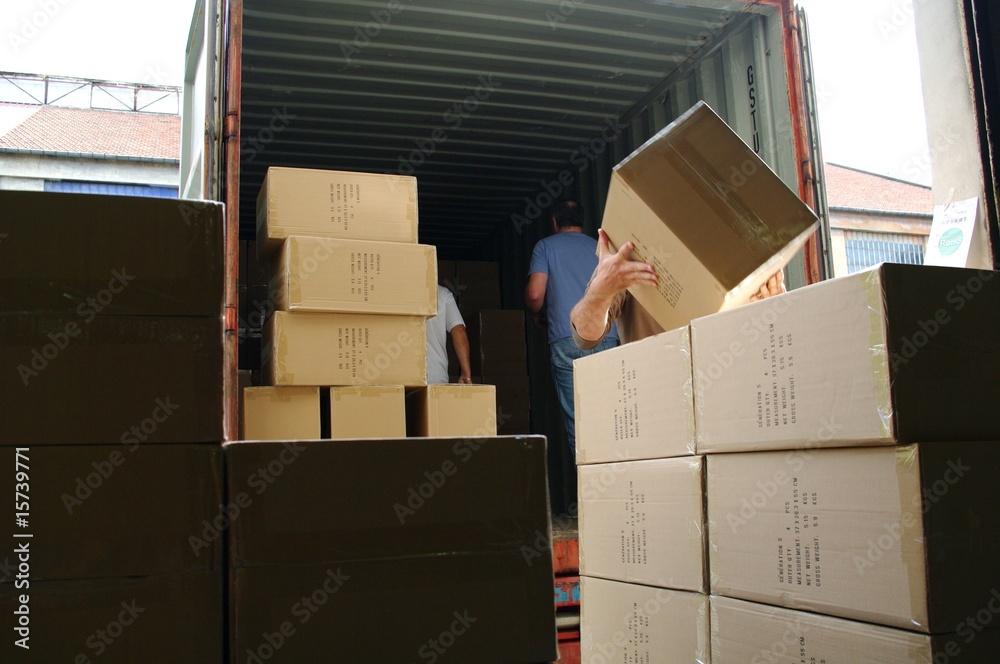 Fototapety, obrazy: déchargement de camion