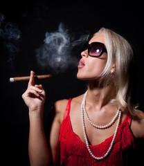 Portrait of elegant smoking...