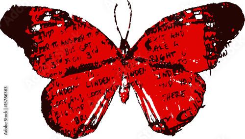 Keuken foto achterwand Vlinders in Grunge Letter vintage butterfly