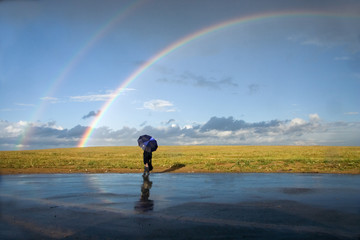 On meeting to a rainbow