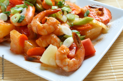 Fotografiet  Sweet and Sour Shrimp