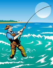 Fisherman Surf Fishing