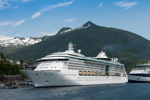 Cruise Ship Sailing In Alaska