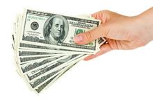 Hand Holds Bunch Of $100 Bills