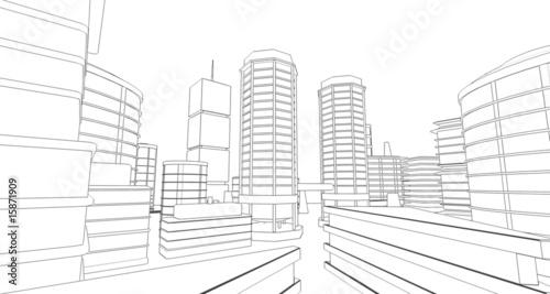 Valokuva  Dessin crayon 3D construction