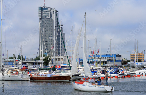 Sailboat entering the marina in Gdynia, Poland #15891547