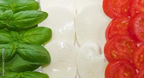 Italian flag made of basil mozzarella and tomato #15911568
