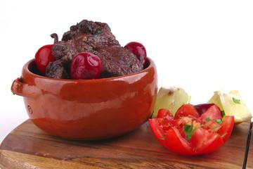 roast beef meat in pot