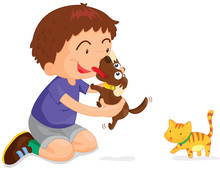 Boy With Pets