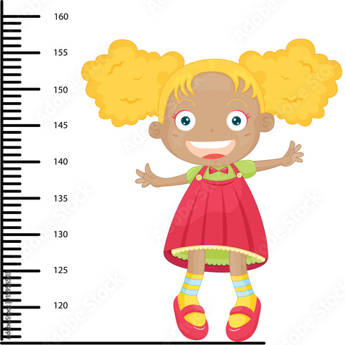 Door stickers Height scale girl