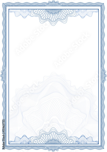 Fotografía  Classic guilloche border for diploma or certificate / vector