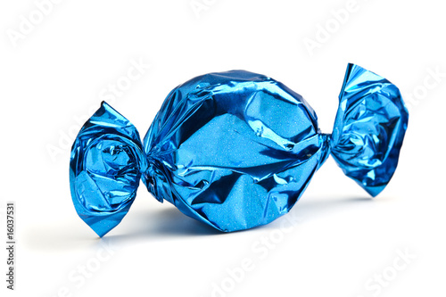 Foto op Aluminium Snoepjes candy wrapped in blue foil