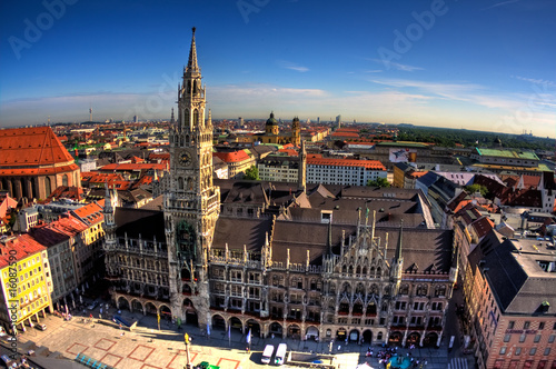 Fototapety, obrazy: Building of Rathaus from tower in Munich, Germany