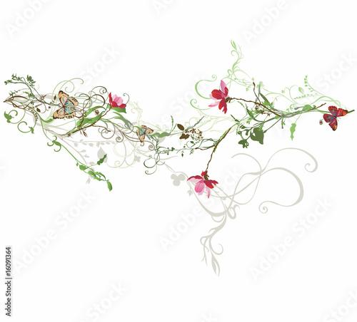 Photo sur Toile Papillons dans Grunge Floral background