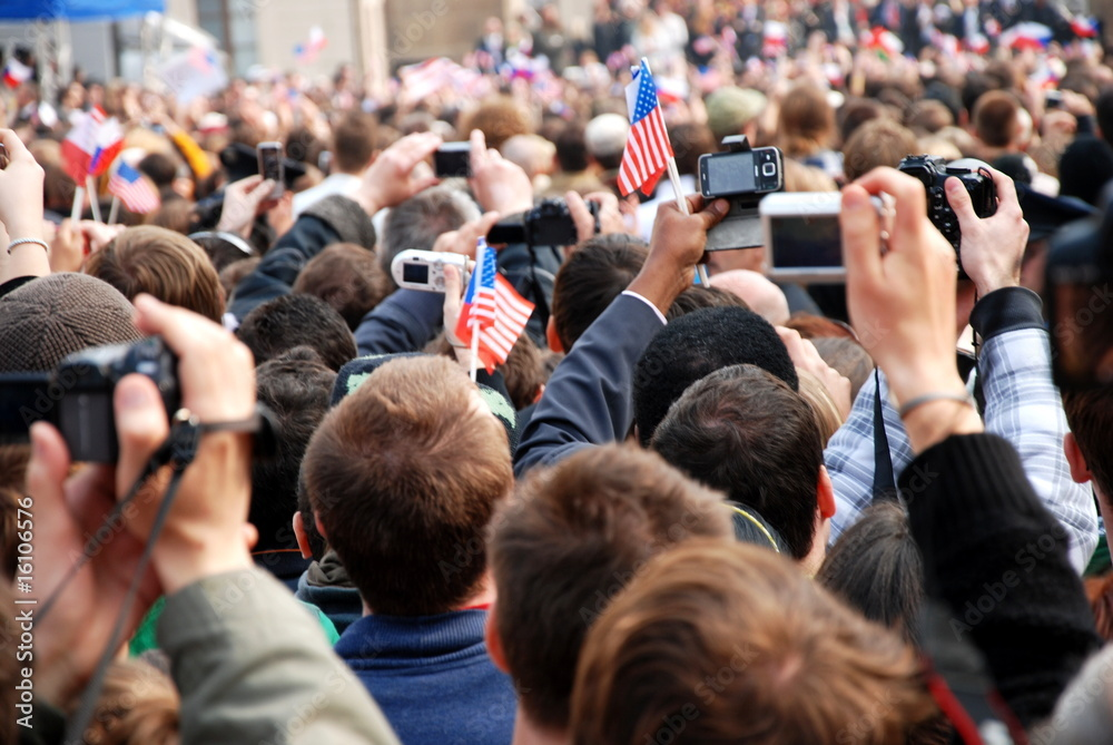Fototapety, obrazy: Crowd of people taking pictures