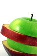 Sliced red and green apple on white background