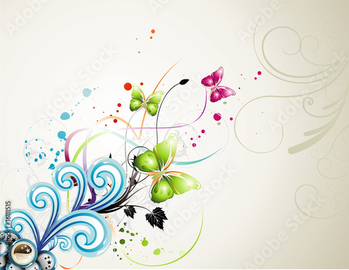 Foto op Aluminium Vlinders in Grunge vector flower illustration