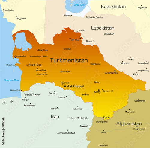 Vector color map of Turkmenistan country Canvas Print