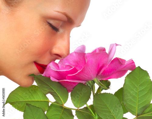 Vászonkép Beautiful Woman with Rose