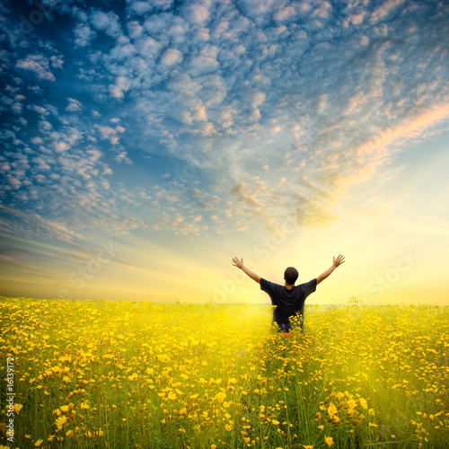 Tuinposter Meloen man in yellow field