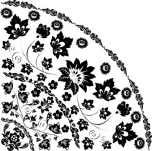 Black Quadrant With Large Flower