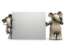 Two Cartoon Elephants With Big Blank Sign.