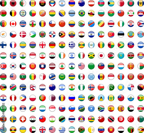 Obraz na plátne Flags of the World buttons (x195)